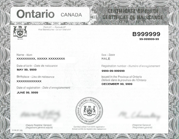 Canadian birth certificates green cards what you need for Share certificate template alberta