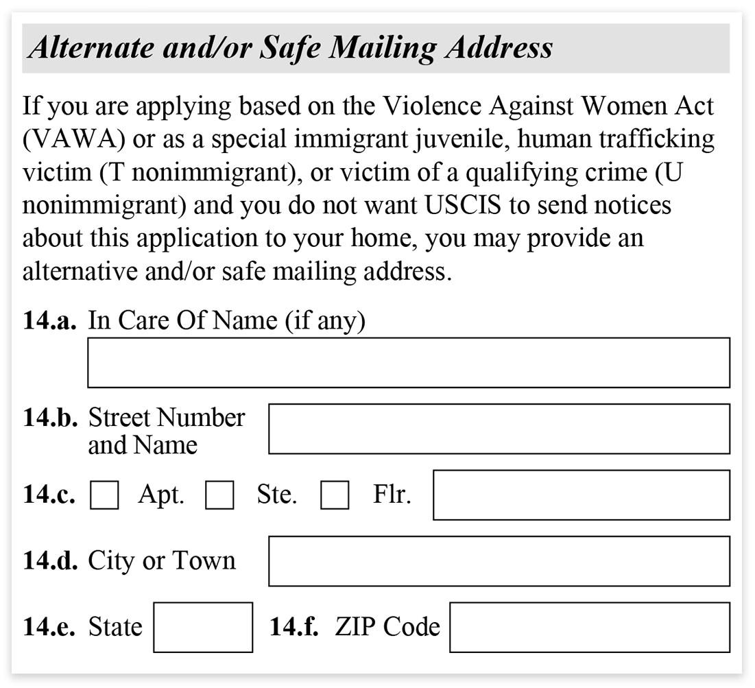 Form I-485 - part 1 - Alternate Mailing Address