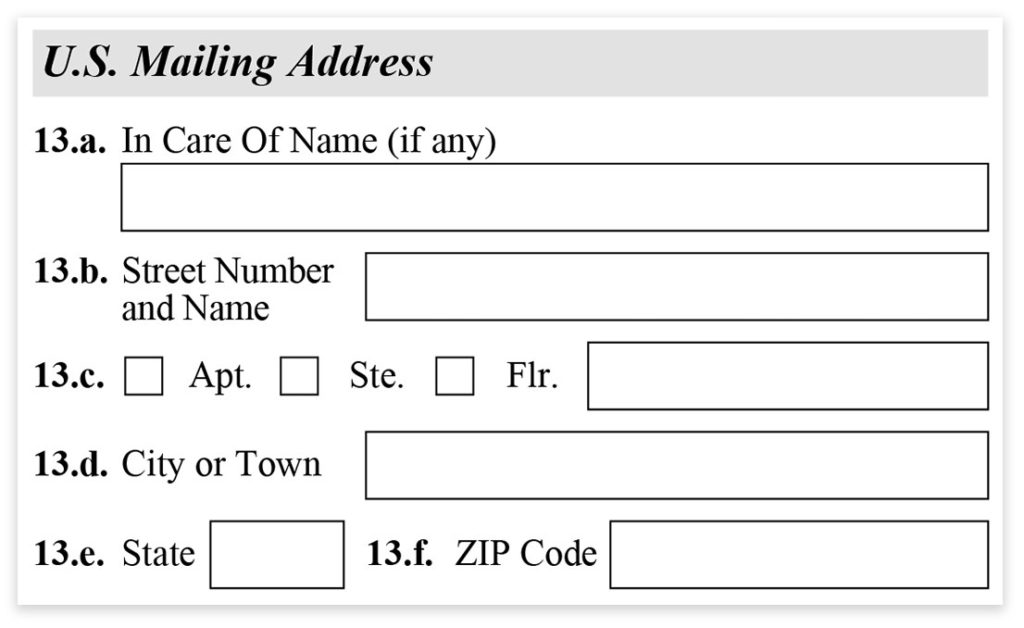 Form I-485, Part 1, US Mailing Address