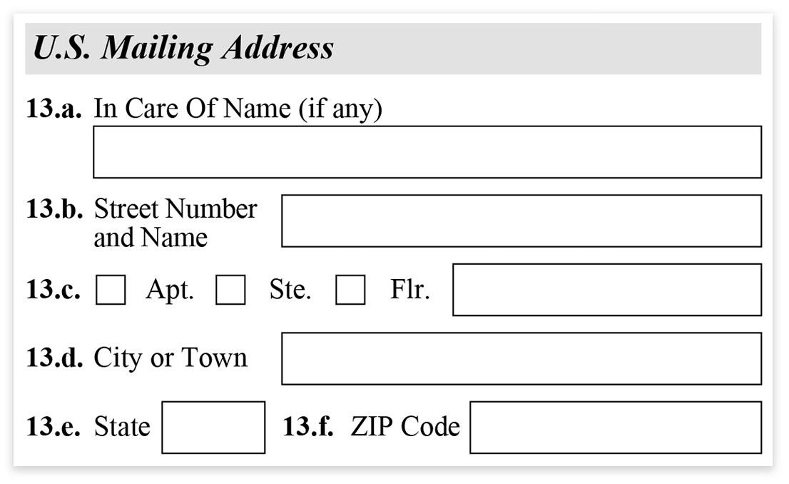 Form I-485 - Part 1 - Us Mailing Address