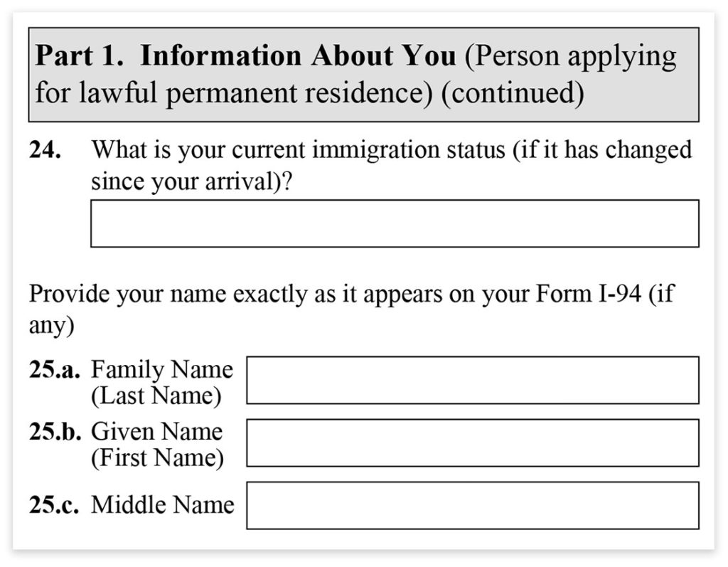 Form I-485, Part 1, Immigration Status