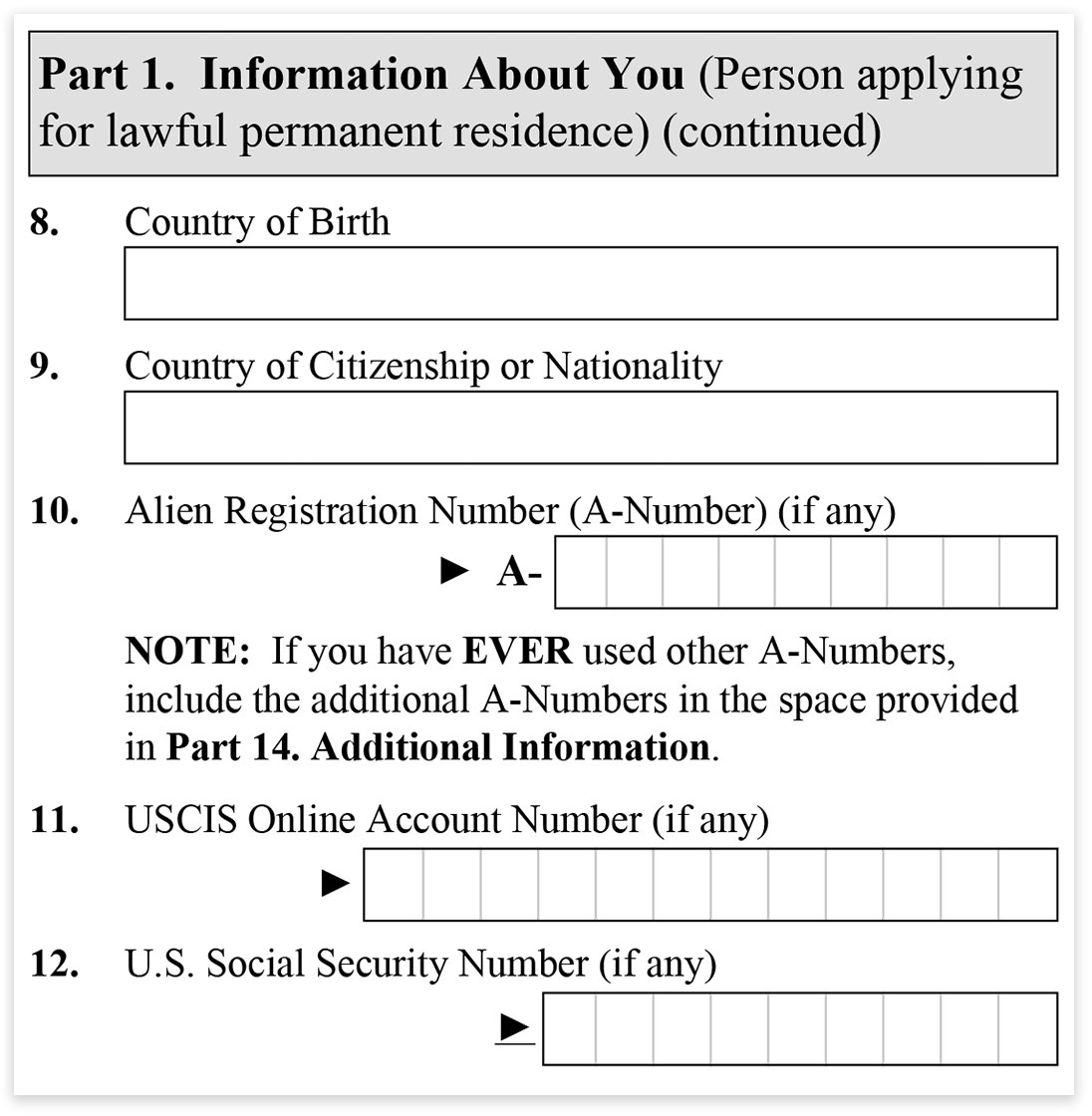 Form i 485 part 1 information about you immigration learning form i 485 part 1 information about you falaconquin