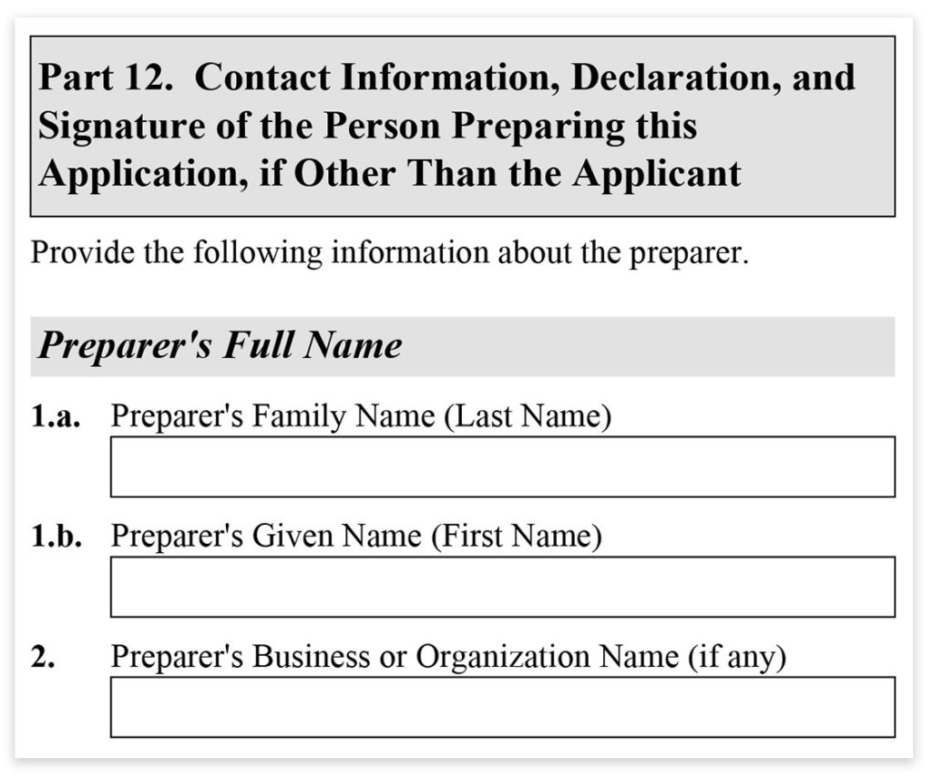 Form I-485, Part 12, Contact Information of Preparer