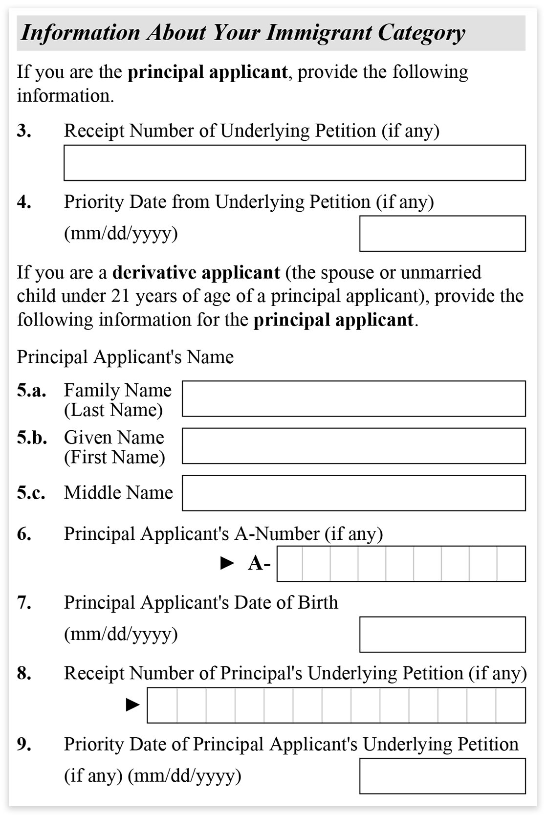 form i 485 receipt number of underlying petition  Form I-17 - part 17 - Information About Your Immigrant ...