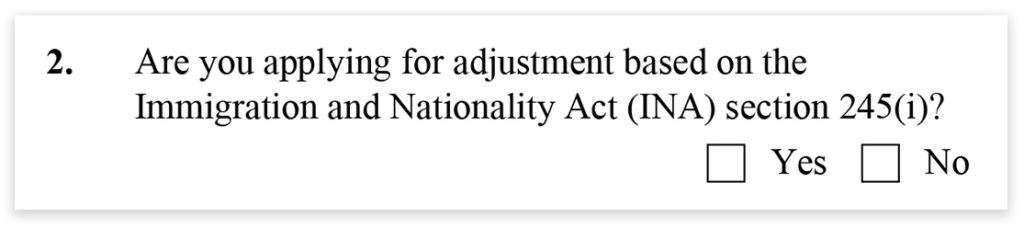 Form I-485, Part 2, Immigration and Nationality Act
