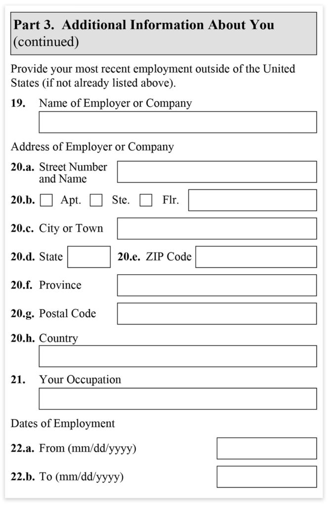 Form I-485, Part 3, Additional Information continued