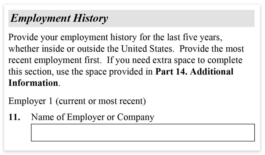 Form I-485, Part 3, Employment History