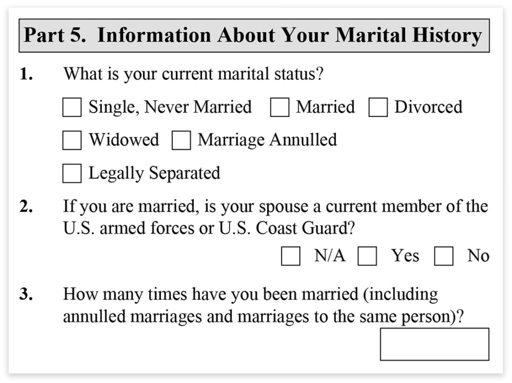 Form I-485, Part 5, Information About Your Marital History