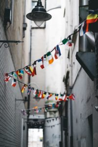 Alley way with Flags of the World
