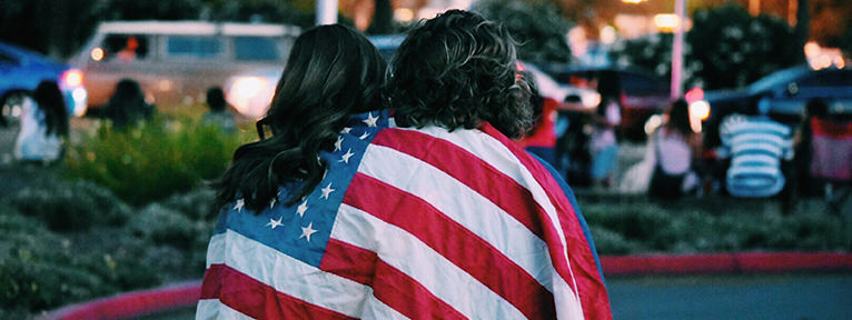 Couple with US Flag