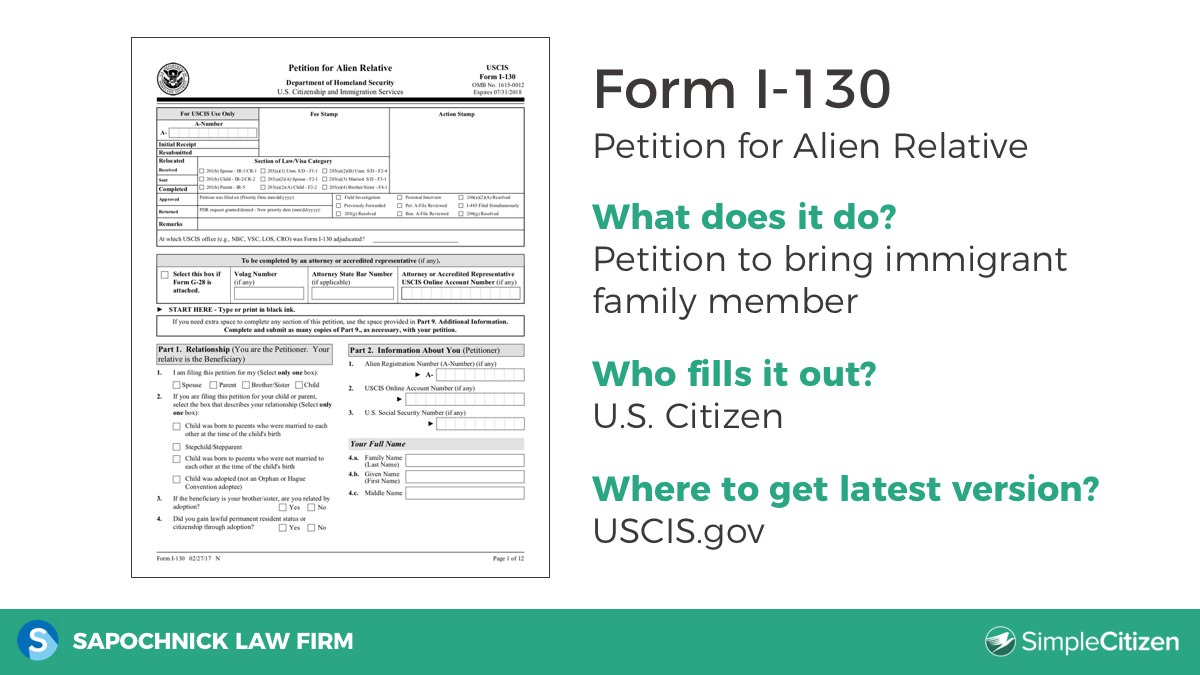 Matt: So The Second Form That Is Included In The Green Card Application Is  The Form I 130 Which Is The Petition For An Alien Relative.